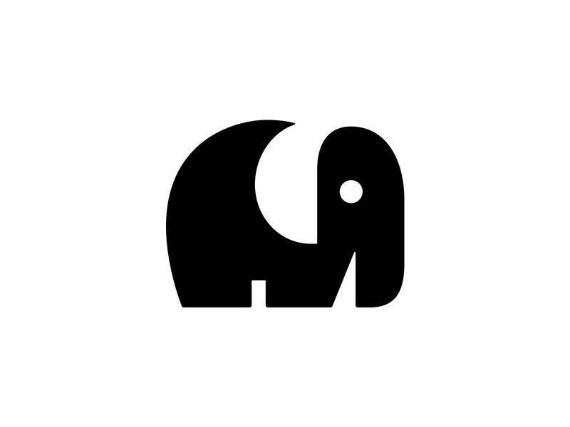 Elephant 1 cute animals animal logo animal cute logo negative space logo negativespace elephant logo elephant symbol mark logo