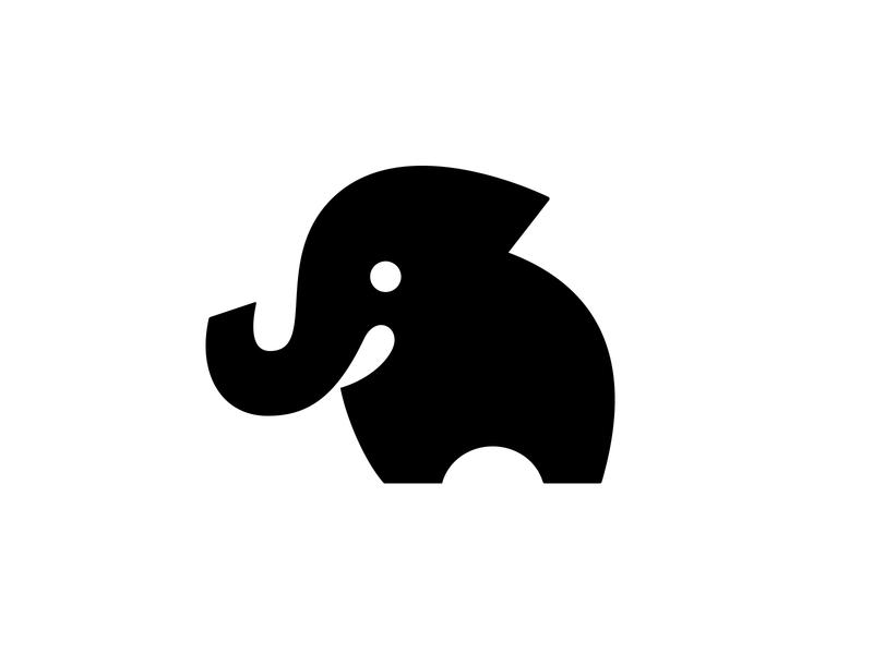 Elephant 3 negative space logo negative space animal logo cute logo elephant logo elephant symbol mark logo