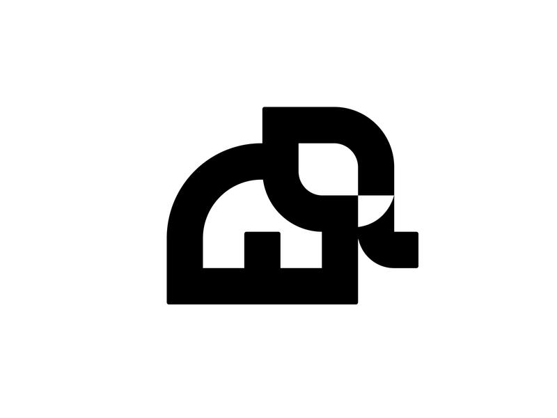 Elephant 4 cute logo negative space logo negative space animal logo animal elephant logo elephant symbol mark logo
