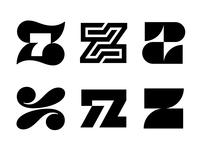 z7 / z logos 7 z logo z letter z7 z logo mark symbol negative space logotype typography letter monogram symbol mark logo