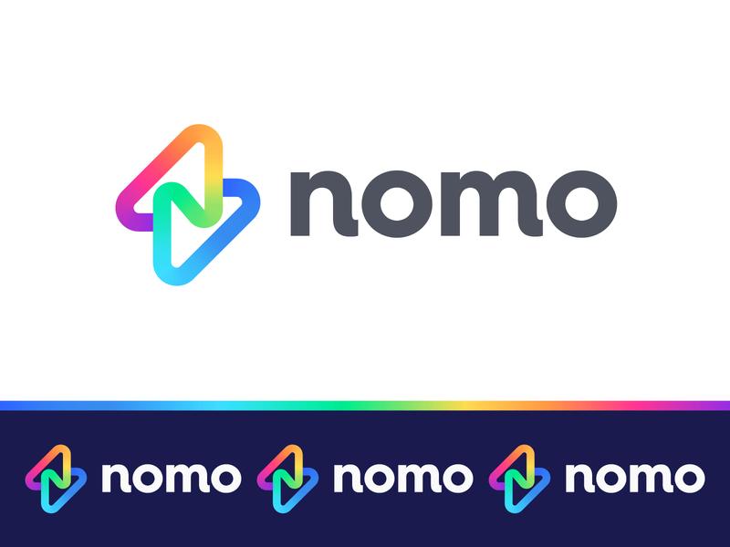 Nomo V1 identity design identity colorful logo gradient logo gradient bolt logo bolt lightning logo lightning bolt letter n n logo mark symbol negative space logotype typography letter monogram symbol mark logo