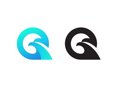 Q + Eagle eagle logo eagle letter q q logo mark symbol negative space logotype typography letter monogram symbol mark logo