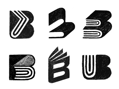 B/UB Books Sketches ub logo ub paper logo b logo b book logo book logo negative space logo negativespace logo mark symbol negative space logotype typography letter monogram symbol mark logo