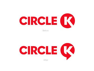 Circle K / Logo Update / Unofficial before after logo redesign rebranding logo update circlek logo circle logo k monogram k logo k logo mark symbol negative space logotype typography letter monogram symbol mark logo