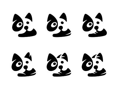 Dog with Sneaker / WIP logo versions dog logo cute logo sneaker negative space logo negativespace dog symbol mark logo