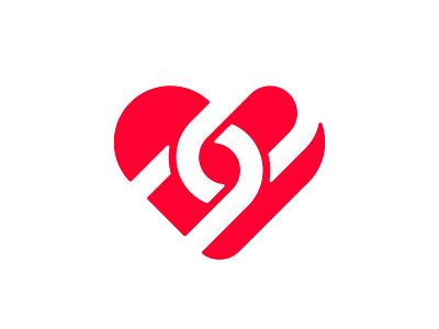 Heart / Link link hear logo heart negative space logo negativespace symbol mark logo