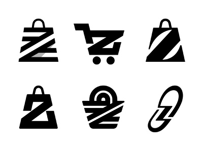 WIP basket footprint trolley store woman shopping bag bag letter z logo z logo mark symbol negative space logotype typography letter monogram symbol mark logo