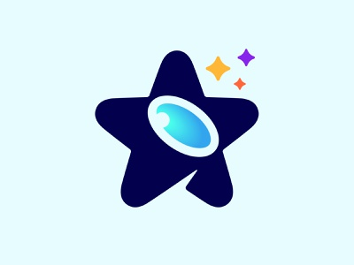Star + Telescope astronomy space stars negative space logo telescope star logo mark symbol negative space symbol mark logo