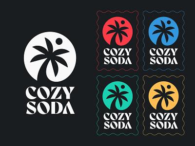 Cozy Soda V1 clothing brand clothes stamp cozy soda sun palm logo palm tree palm logo mark symbol logotype negative space logo negative space monogram typography letter symbol mark logo