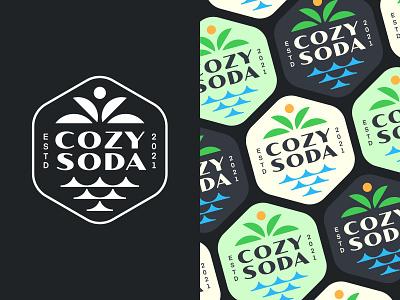 Cozy Soda V3 sea logo palm logo cozy soda identity graphic design branding illustration design logotype typography letter monogram symbol mark logo