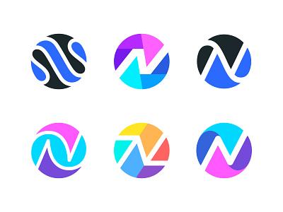 N / Circle / Versions letter n circle logo n logo illustration design logotype typography letter monogram symbol mark logo
