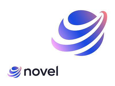 Novel circle cosmos rocket lines earth planet globe symbol mark logo