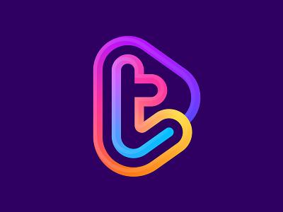 t + play icon gradient logo play icon play logo letter t t logo t illustration design logotype typography letter monogram symbol mark logo