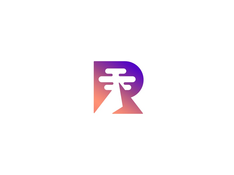 R / Mountain / V 1 cloud mountain letter letterform r logo mark symbol