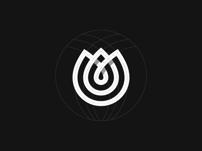 Tulip Grid nature line flower tulip logotype symbol mark logo