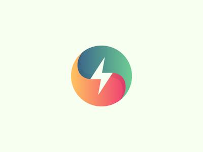 Thunder bolt gradient circle colorful thunder logotype symbol mark logo