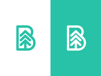 B for Botanic forest flora botanic tree logotype typography monogram b letter symbol mark logo