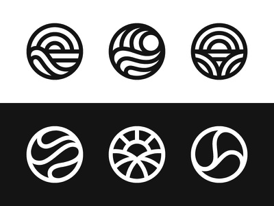 Wip 1 ocean sea sunset valley hills wave sun nature symbol mark logo