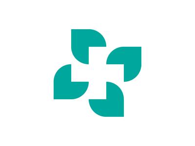 Cross + Leaf nature health leaf medical cross symbol mark logo
