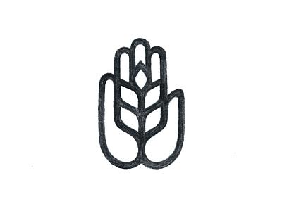 Hand Wheat sketch wheat icon hand symbol mark logo