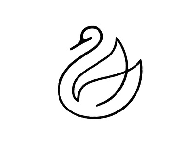 Swan / Sketch line swan bird symbol mark logo