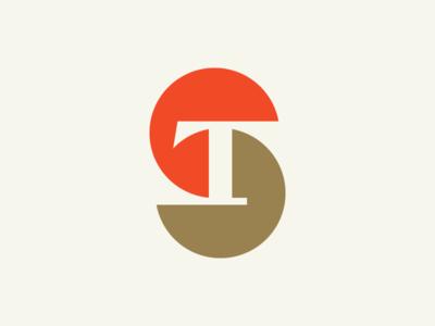 ST negative space t s st typography logotype letter monogram symbol mark logo