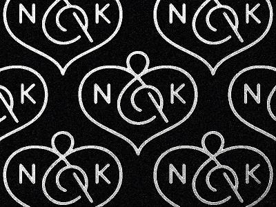 N&K heart ampersand k n typography logotype letter monogram symbol mark logo