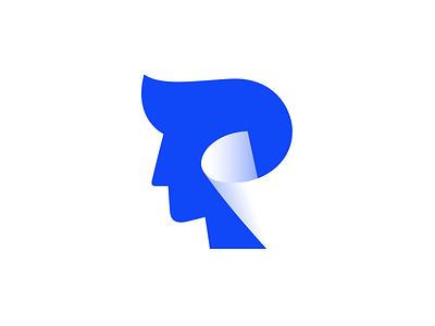 Head / Paper letter p p icon identity branding logo designer logo design best shot best logo negative space logo kakhadzen man human face negative space paper head symbol mark logo