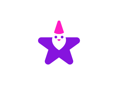 Gnome cute negative space logo negative space star gnome symbol mark logo