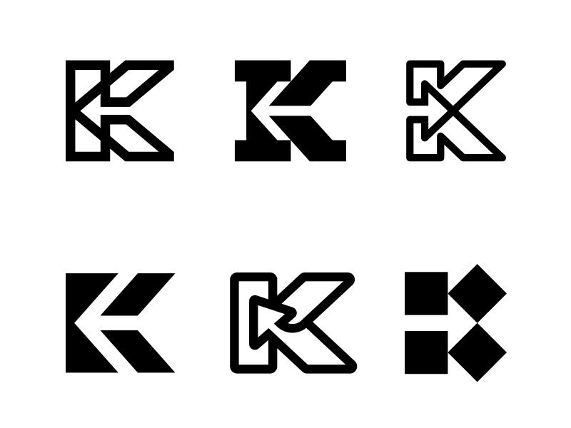 K / Arrow / Pointer 1 negative space pointer arrow k letter k typography logotype letter monogram symbol mark logo