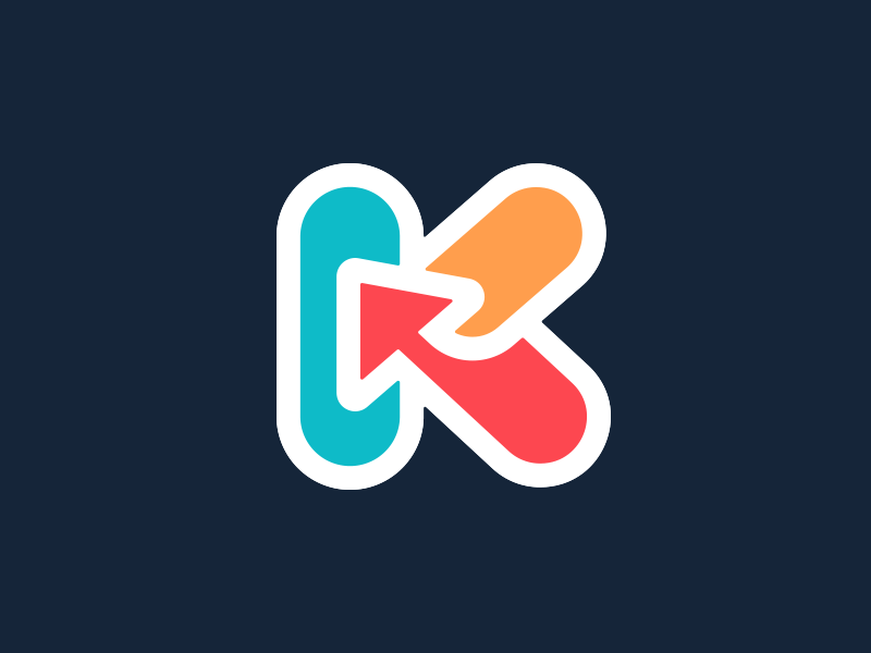 K arrow k letter k typography logotype letter monogram symbol mark logo