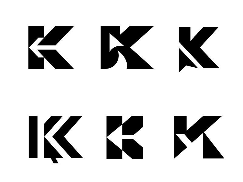 K / Arrow / Pointer 2 negative space pointer arrow k letter k typography logotype letter monogram symbol mark logo
