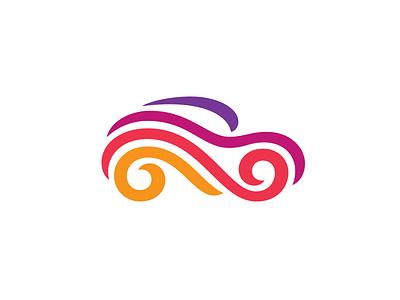 Car colorful festival fest ribbon car symbol mark logo