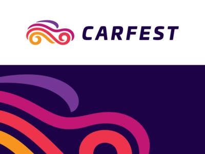 Carfest ribbons joy festival fest car symbol mark logo
