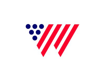 W grapes wine america flag typography logotype letter monogram symbol mark logo