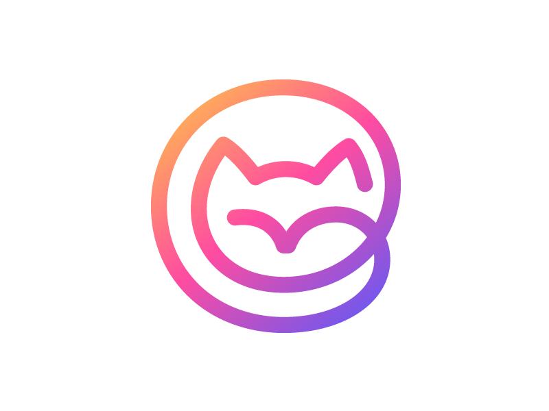 Cat cat logo animal logos colorful gradient line kitten cat symbol mark logo
