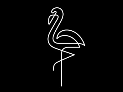 Flamingo 2 bird line logo flamingo symbol mark logo