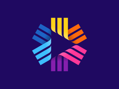 Wip 3 play button play ribbons star symbol mark logo