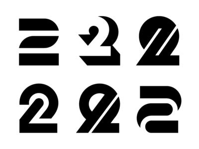 2 logos number 2 number 2 numbers typography logotype letter monogram symbol mark logo