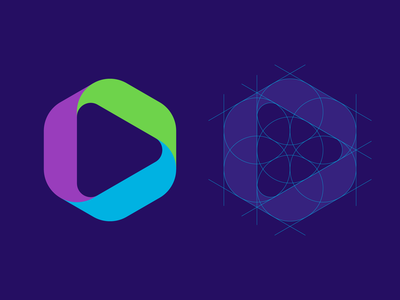 Wip1a grid triangle media hexagon symbol mark logo