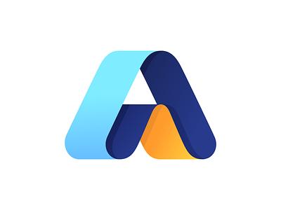 A triangle logo logotypes a symbol ribbon logo logo design a logo letter a a typography logotype letter monogram symbol mark logo