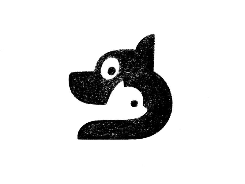 Cat & Dog animal logos sketch cat and dog cute dog cat negative space illustration symbol mark logo