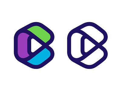 C line logo hexagon play button play typography logotype letter monogram symbol mark logo