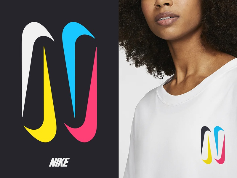 N / nike nike logo nike n letter negative space logo n logo mark symbol negative space typography logotype letter monogram symbol mark logo