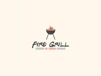 Fire Grill BBQ & Smokehouse typography illustration vector design brand and identity illustrator logo design logo branding