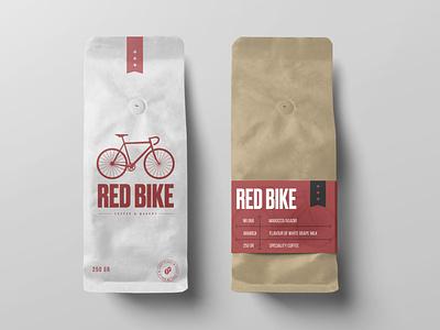 Red Bike Coffee & Bakery illustration vector coffee shop brandpackage coffee bag coffee brand and identity illustrator logo logo design branding