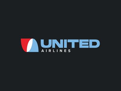United Airlines Logo Redesign airlines icon design illustration logo design branding brand and identity logo redesign airplane logo airplane united