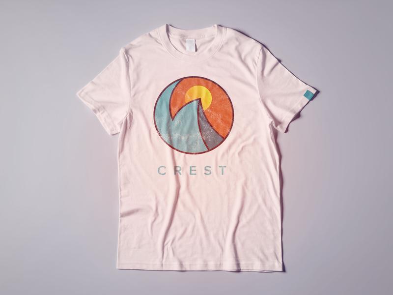 Vintage Crest Logo adobe illustrator crest tshirt design gradient design brand and identity graphic art sunset beach wave ocean vintage church graphic logo design illustrator graphic
