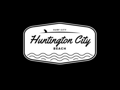 Huntington City Beach Logo Badge logo badges huntington beach surf city surf surfing logo graphic  design illustrator logo design brand and identity logotype beach sticker beach logo surf logo branding logo mark logo badge