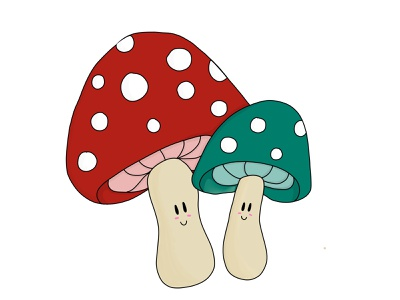 Toadstools mushroom toadstool illustration apple pencil procreate